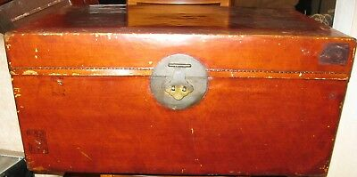 Large Antique Chinese Wooden Trunk  Lacquered Pigskin 19th Century