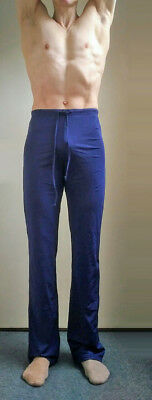 Men's Jazz Pants.Navy Blue.Wide legs. Elasticated waist with draw strings.Size L