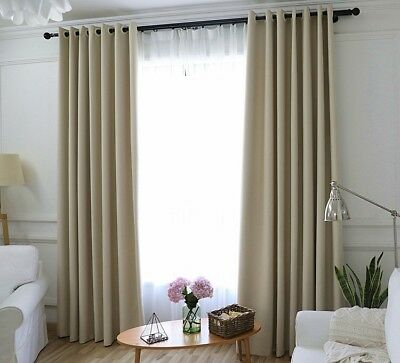Window Curtains Insulated Thermal Blackout Solid Soundproof Drape Blinds Panel