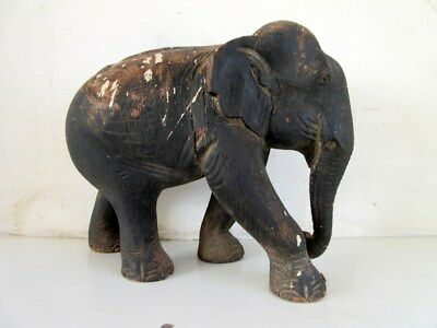 Antique Old Hand carved Wooden Home Decorative Big Size Elephant Figure Statue