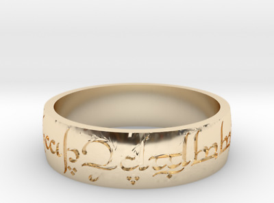 """Lord Of The Rings """"The One Ring"""" Power Ring 18K Gold!"""