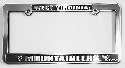 West Virginia Mountaineers Car Truck Tag License Plate Frame Silver Black