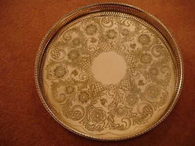 Vintage12 inch alpha plated chased gallery tray by Viners of Sheffield in vgc
