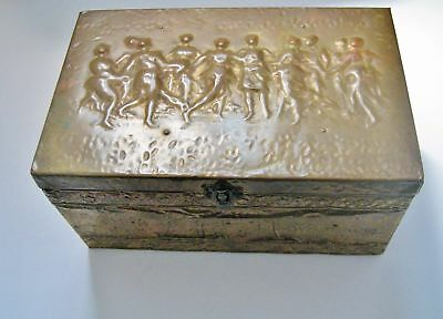 Antique British Made Sewing Box- Brass Repousse Exterior On Wooden Box