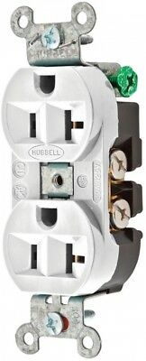 Hubbell 20-Amp 125-Volt White Indoor Duplex Wall Outlet