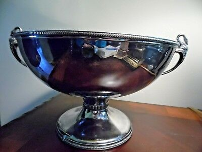 "Vintage Silver Plate Punch bowl with Swan Handles~11"" Bowl"