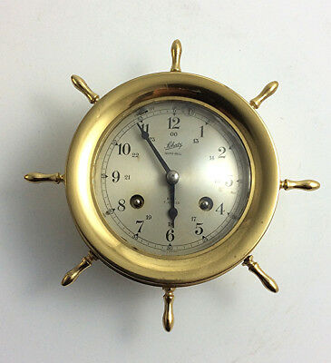 Vintage Aug. Schatz & Sohne nautical ships bell clock