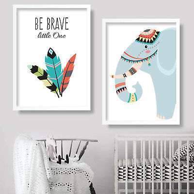 PAIR of TRIBAL Art Print ELEPHANT Be BRAVE Nursery wall poster Kids picture (f)