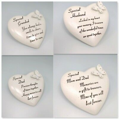 Sentimental Heart Shape Memorial Stone Ornament Grave Plaque Mum Dad Grandad Nan