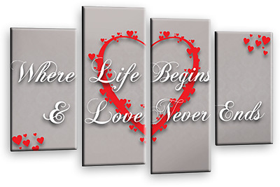 LOVE QUOTE WALL ART PICTURE BLACK GREY RED HOME HEART CANVAS SPLIT PANEL 112 cm