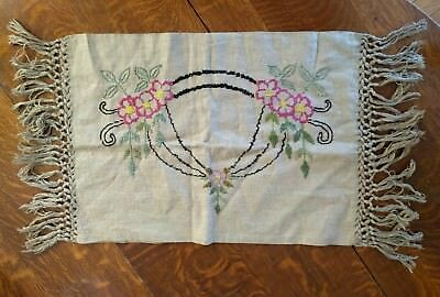 arts crafts embroidered linen pillow cover mission