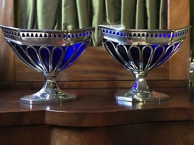 Antique English Sheffield Plate  - Sweet Baskets - Silver & Cobalt Glass Liners