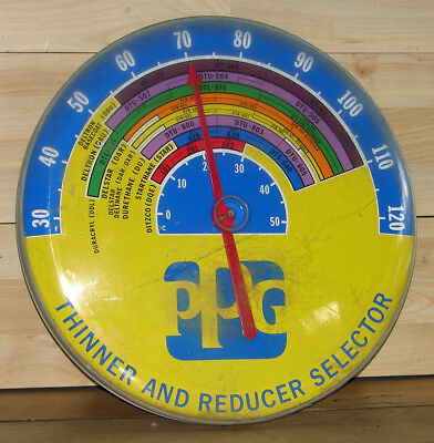 """Vintage Ppg Paints 18"""" Thinner & Reducer Selector  Advertising Sign Thermometer"""