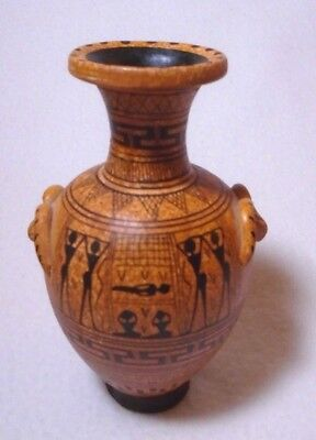 Ancient Greek Pottery Orange & Black Geomettric Small Vase Replica Art Copy 5""