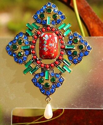 Maltese cross Blue green rhinestones red millefiore glass Swarovski ele BROOCH