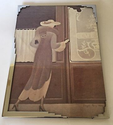 Vintage English Art Deco Chrome Plated and Glass picture frame - Made in England