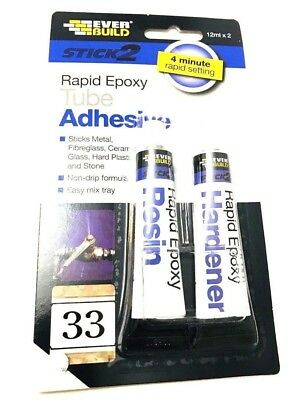 NEW Everbuild Stick2  adhesive  2 Part Rapid Strong Epoxy Resin 12ml Twin Pack