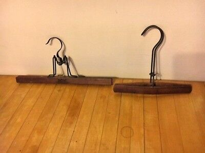 RARE Pair/Lot of 2 Antique/Vtg Self-Lok Wooden Clip Wire Clothes Coat Hangers