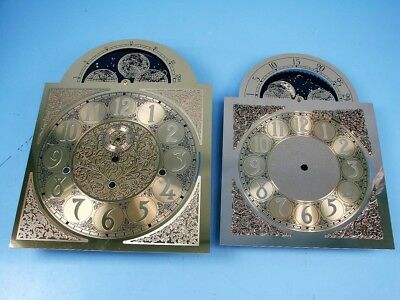 Lot Of 2 Brass Gold Grandfather Clock Faces Globe Revolving Moon Dials Usa Made