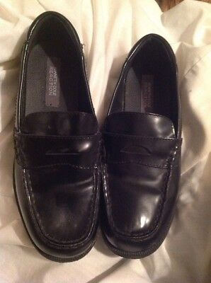 Kenneth Cole Reaction Boys New Black Slip On Leather Penny Loafer Sz 5