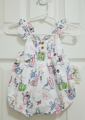 Gymboree Peter Rabbit Ruffle Bubble Romper Outfit Baby Girls 0-3 Months NWT $37