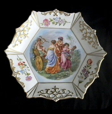 Royal Vienna six sided plate with mythological scenes - FREE SHIPPING
