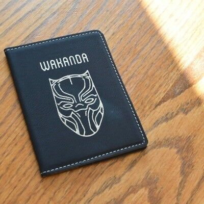 Wakanda Forever Smooth Leather Passport Cover (Black and Gold for Black Panther)