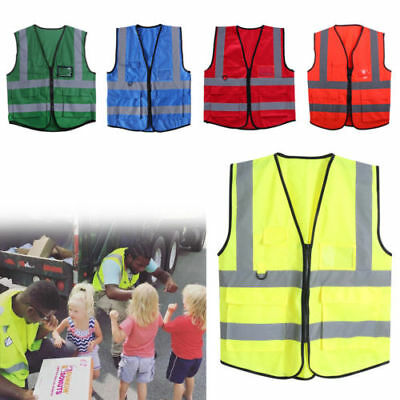 AU Hi-Vis Safety Vest Zipper Reflective Jacket Security Waistcoat 5 Pockets NEW