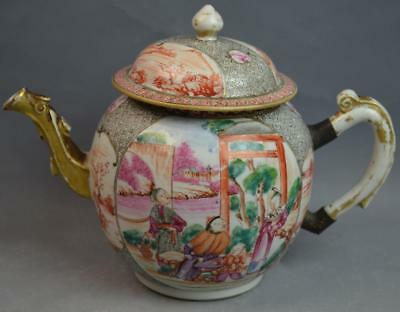 Chinese medallion Rose Gold Gilt Porcelain Teapot