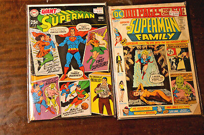 Silver Age DC Giant 2 pc Lot Giant Superman 217 Superman Family 168 100 pgs