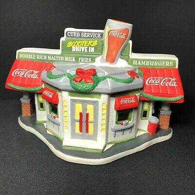 Coca-Cola 1996 Christmas Town Square Collection Lighted Scooters Drive In