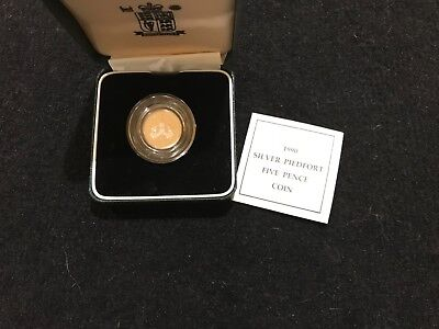 Great Britain Royal mint 1990 Silver Proof Piedfort FIVE PENCE COIN Box & COA