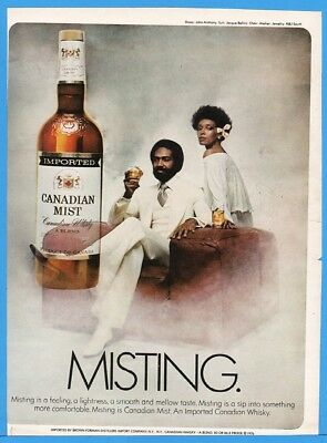 1977 Canadian Mist Whiskey MISTING Jacque Bellini African American Couple Ad