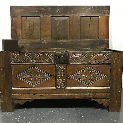 Antique carved English Oak Coffer, chest, blanket box