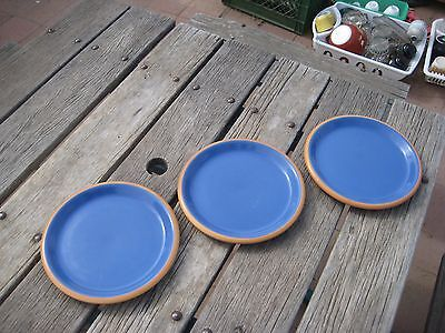 "Vtg 9"" Diameter * CROWN CORNING - Sonora & Blue * Luncheon Plate Set of 3 JAPAN"