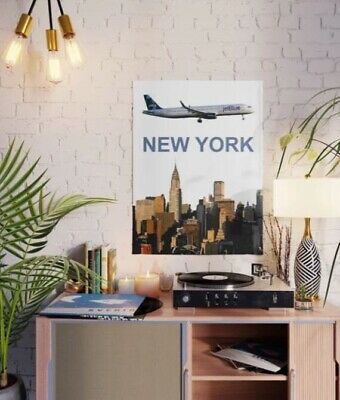"jetBlue Airbus A320 with Airport Codes - 18"" x 24"" Poster"