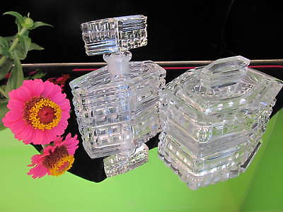 Vintage Antique Cut Glass Vanity Set Perfume bottle Powder dish P/U W Footscray