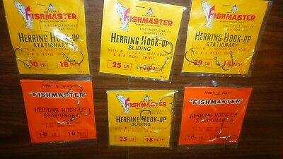 Vintage Lot Of 6 Army & Navy Fishmaster 18, 25 And 30 Pound Herring Hooks