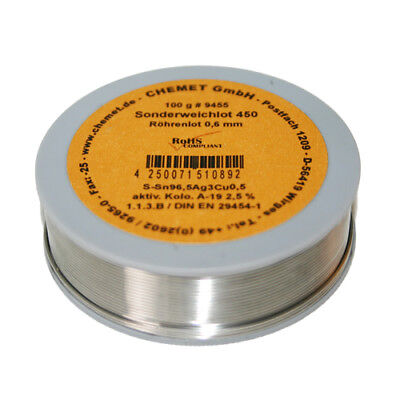 Rare Alloy Lead Free Solder Wire Sn96.5Ag3Cu0.5 0.6mm 100g With Flux by Chemet