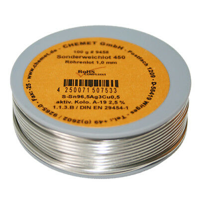 Rare Alloy Lead Free Solder Wire Sn96.5Ag3Cu0.5 1.0mm 100g With Flux by Chemet