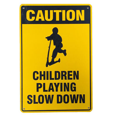 WARNING SIGN CAUTION CHILDREN PLAYING SLOW DOWN 200x300mm Metal Safe Notice