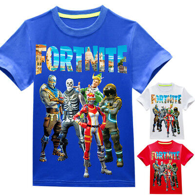 New Kids Boys Casual Fortnite Cartoon Summer T shirts Tees Top Clothes 4-12Years