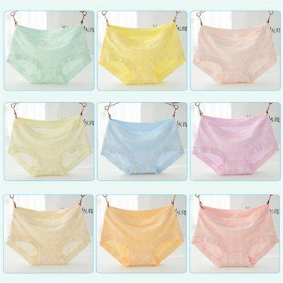 Women's Ice-cream Color Middle Rise Cotton Briefs Elastic Waist Underwear ZF