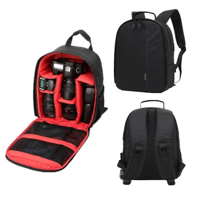 For Canon Nikon SonyWaterproof DSLR Camera Video Backpack Shoulder Bag Case Red