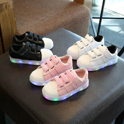 LED Kids Shoes Boys Girls Light Up Sneakers Baby Toddler Luminous Trainers AU