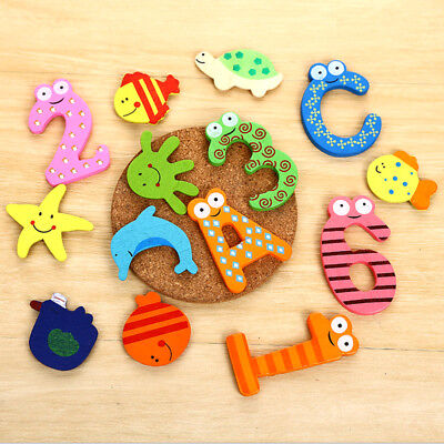 Wooden Cute Alphabet Fridge Magnet Animal Number Early Educational Kids Baby Toy
