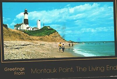 Postcard New York Greetings From Montauk Point Beach Lighthouse Posted 4x6 B1