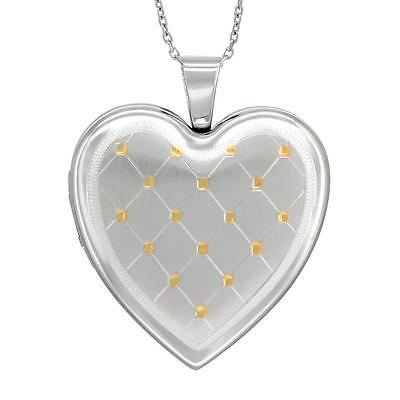 """Sterling Silver 4 Pictures Heart Locket Pendant Gold Tone Quilt, 18"""" Cable Chain"""