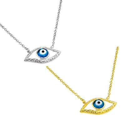 Sterling Silver Necklace w/ Evil Eye Pendant (Rhodium Plated or Gold Plated)