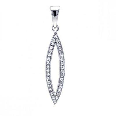 Sterling Silver Jeweled Open Marquise Pendant w/Micro Pave Cubic Zirconia Stones